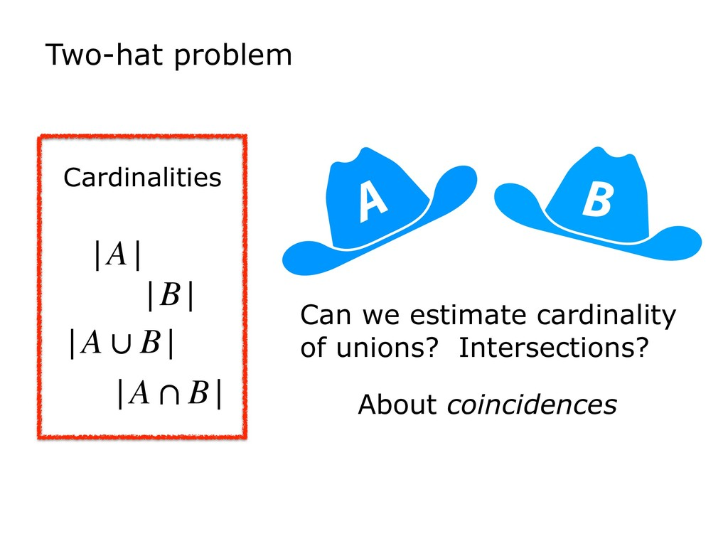 Two-hat problem B A Can we estimate cardinality...