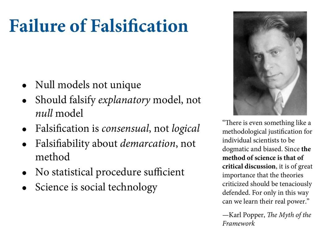Failure of Falsification • Null models not uniq...