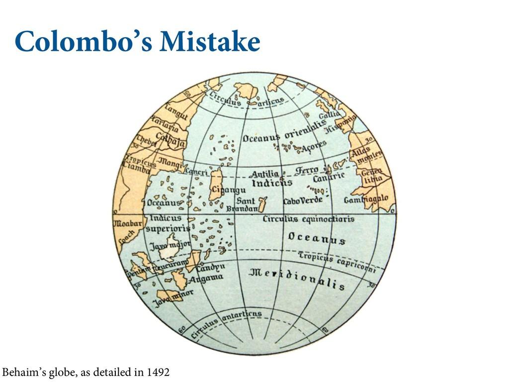 Colombo's Mistake Behaim's globe, as detailed i...