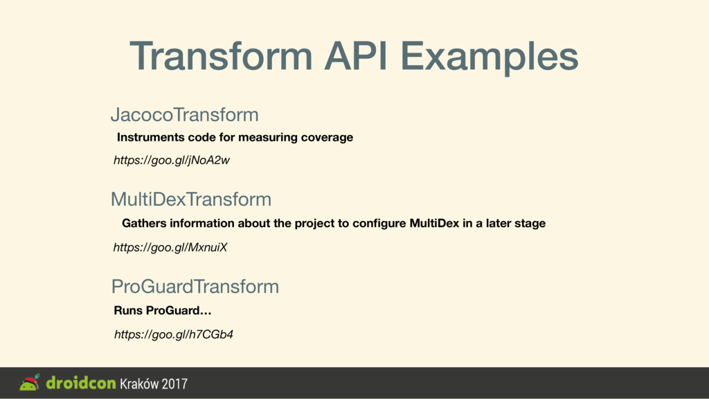 Transform API Examples JacocoTransform https://...