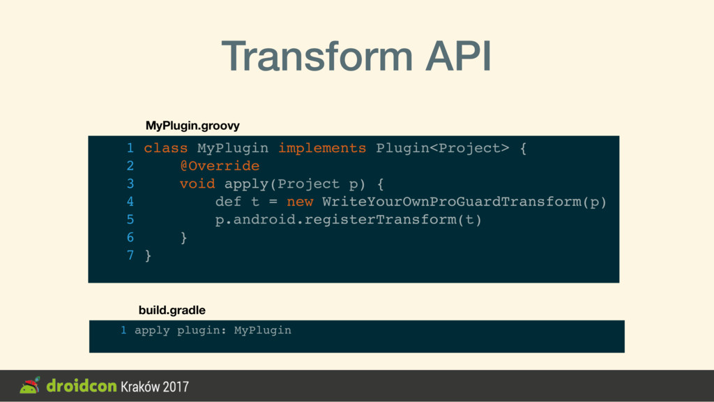 Transform API 1 class MyPlugin implements Plugi...