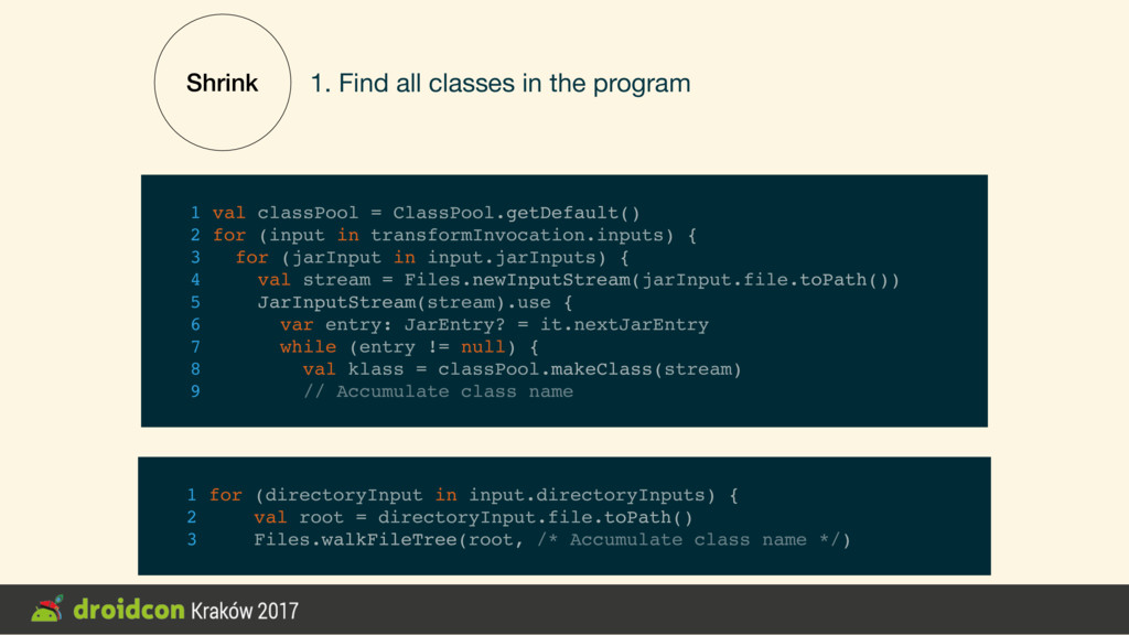 Shrink 1. Find all classes in the program 1 for...