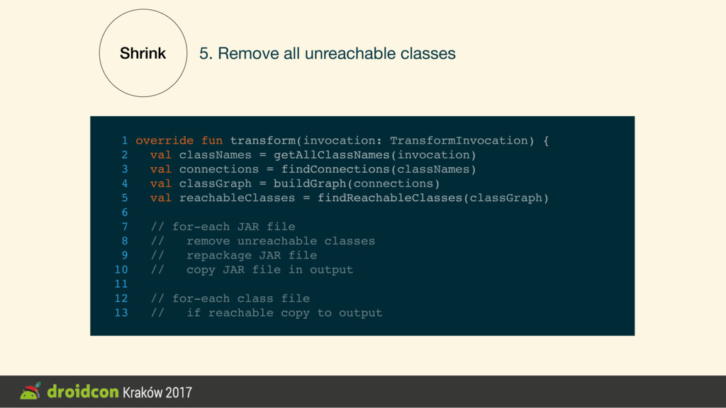 Shrink 5. Remove all unreachable classes 1 over...