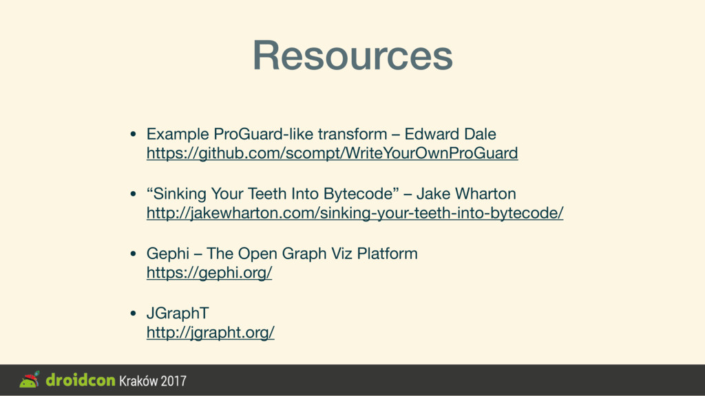 Resources • Example ProGuard-like transform – E...