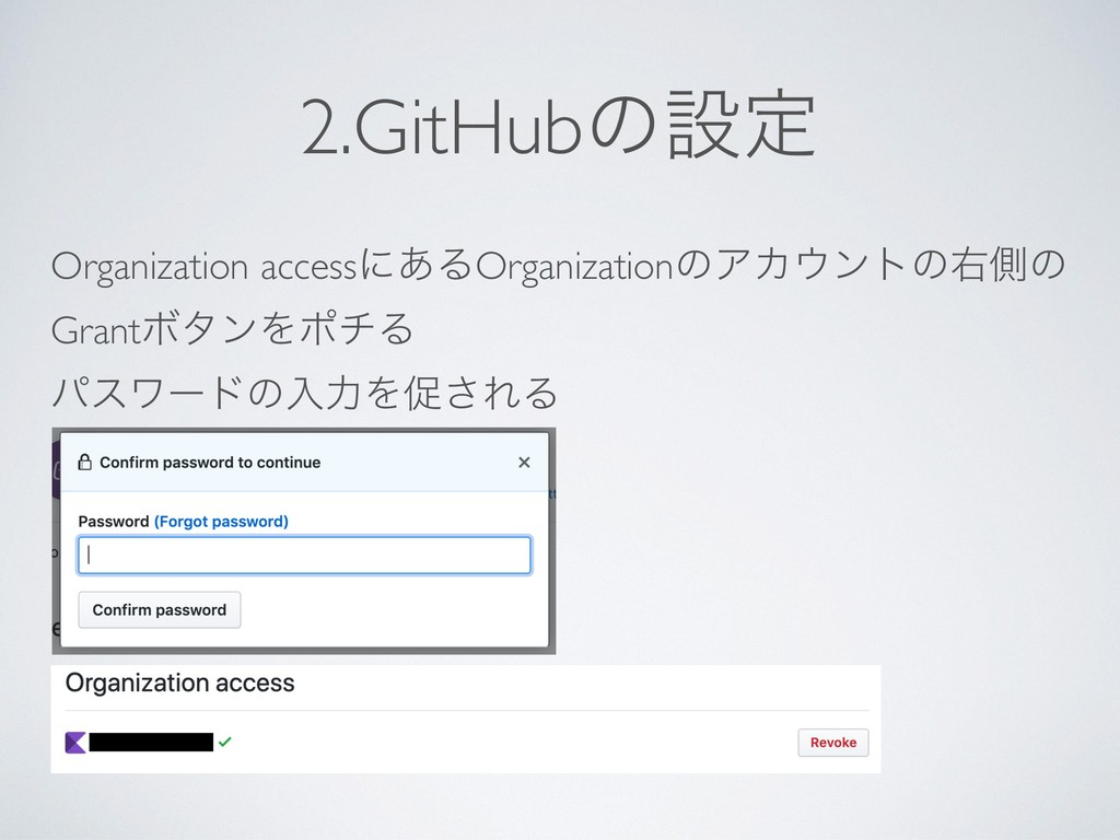 2.GitHubͷઃఆ Organization accessʹ͋ΔOrganizationͷ...