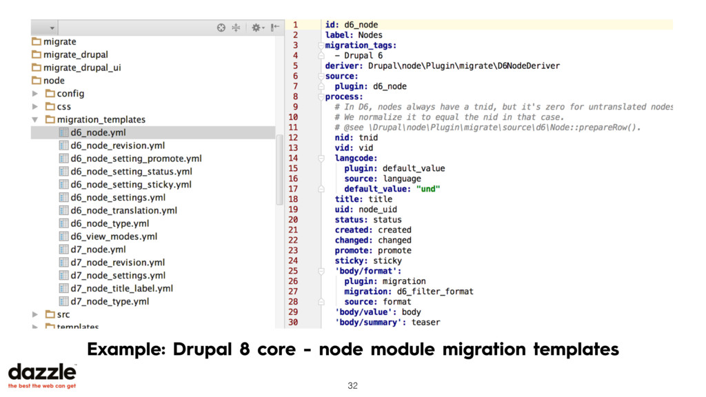 Example: Drupal 8 core - node module migration ...