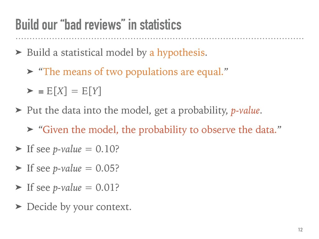 "Build our ""bad reviews"" in statistics ➤ Build a..."