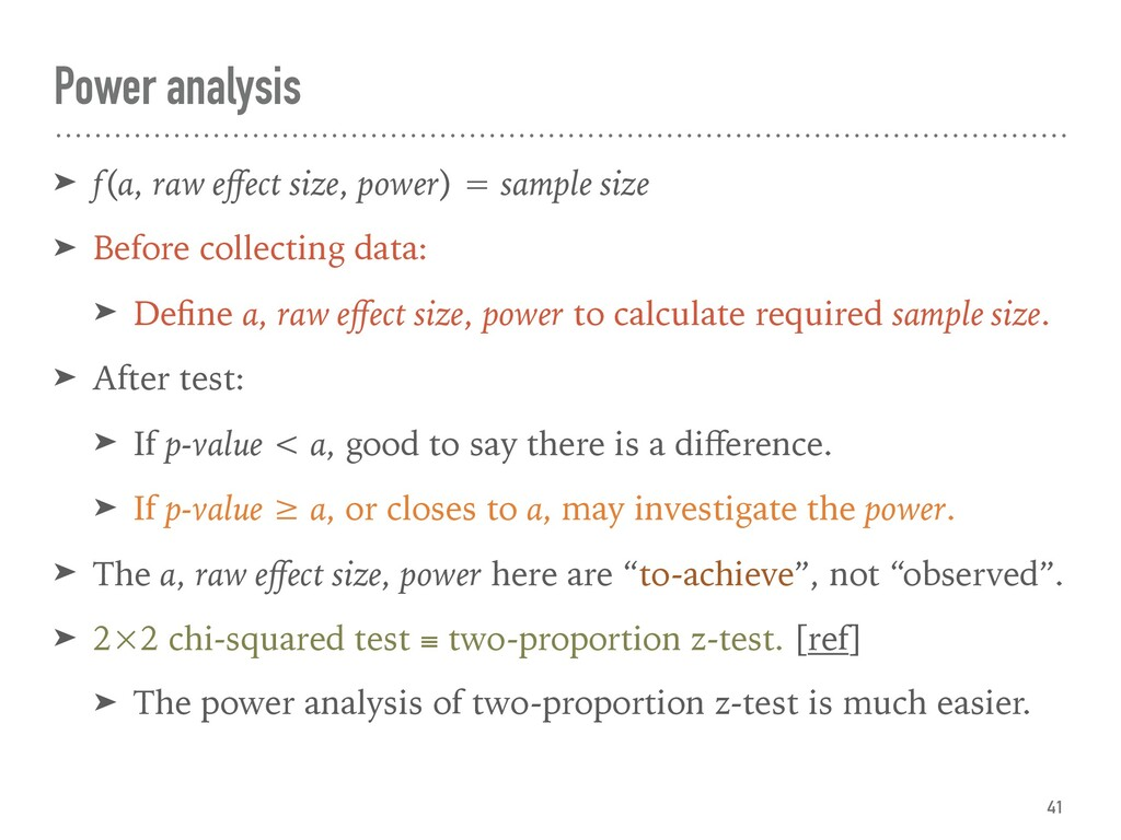 ➤ f(α, raw effect size, power) = sample size ➤ B...