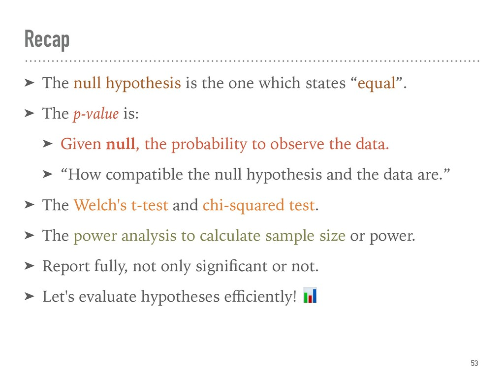 Recap 53 ➤ The null hypothesis is the one which...