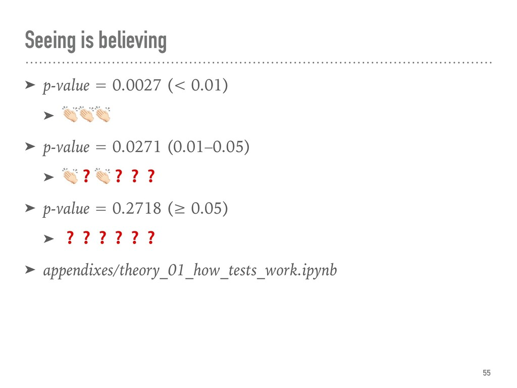 Seeing is believing ➤ p-value = 0.0027 (< 0.01)...