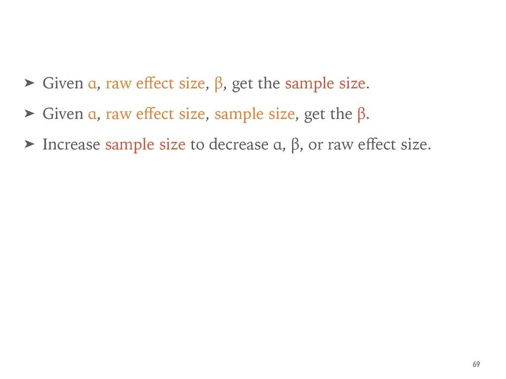 ➤ Given α, raw effect size, β, get the sample si...