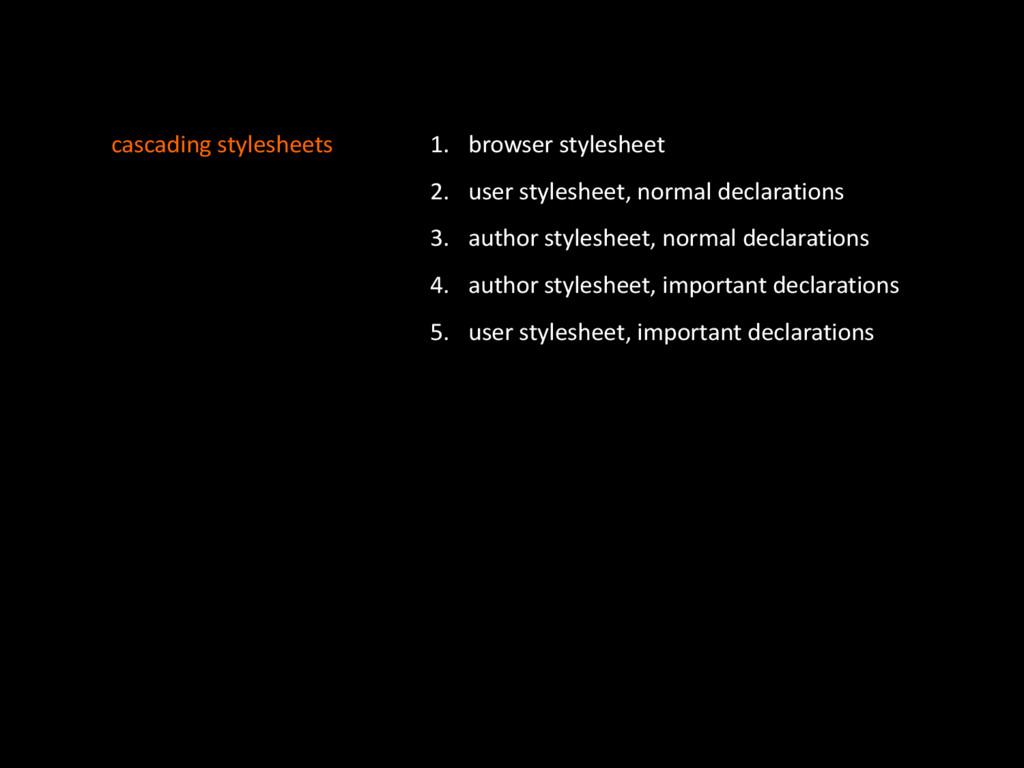 cascading'stylesheets 1. browser'stylesheet' 2....