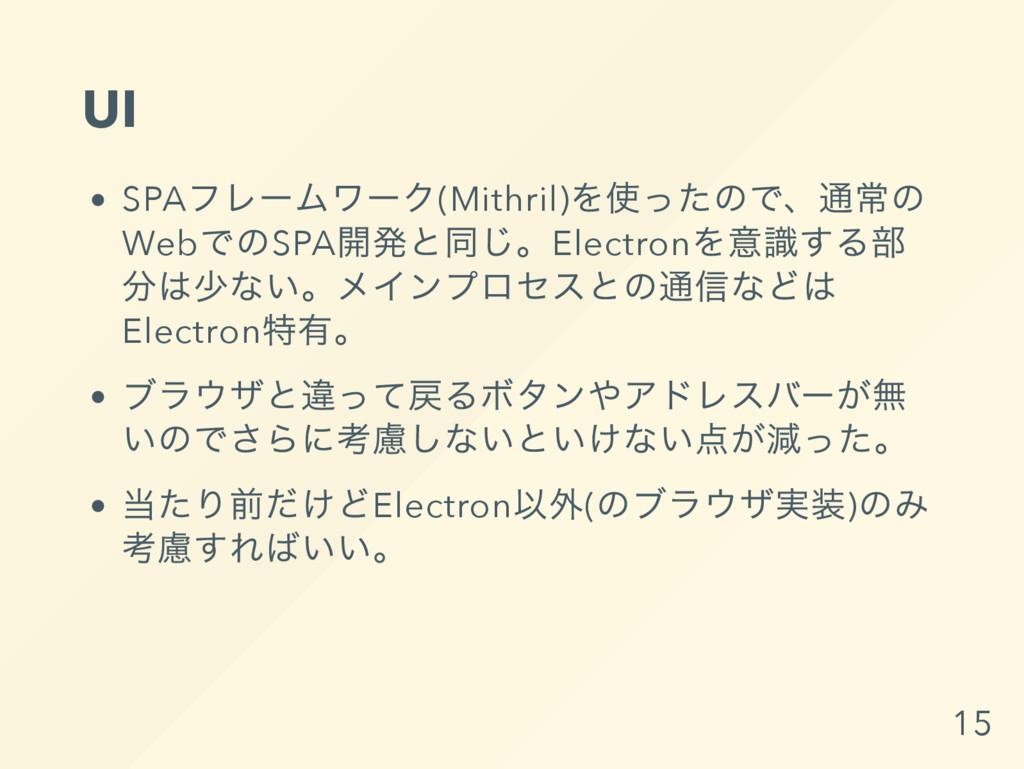 UI SPA フレー ムワー ク(Mithril) を使ったので、 通常の Web でのSPA...