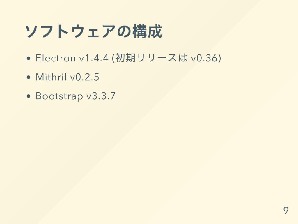 ソフトウェアの構成 Electron v1.4.4 ( 初期リリー スは v0.36) Mit...