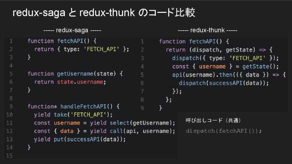 redux-saga と redux-thunk のコード比較 ----- redux-sag...