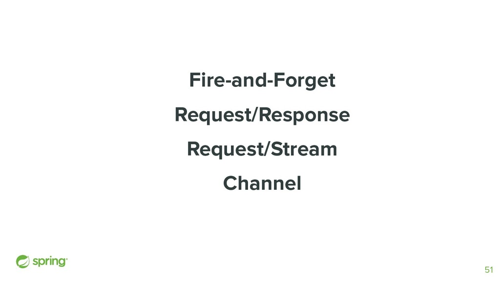 Fire-and-Forget Request/Response Request/Stream...