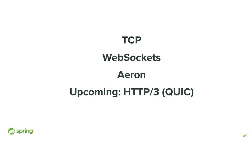 TCP WebSockets Aeron Upcoming: HTTP/3 (QUIC) 54