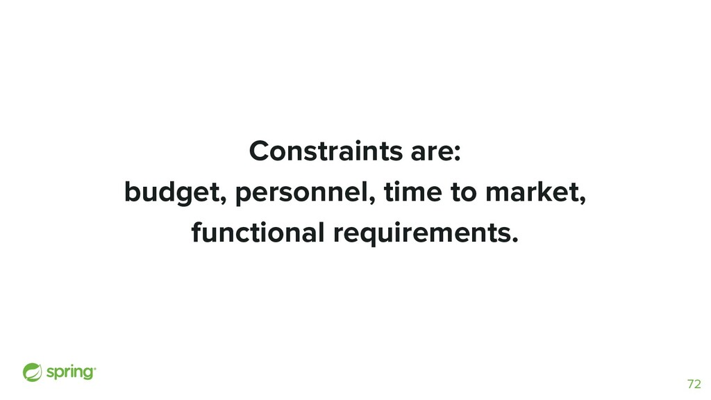 Constraints are: budget, personnel, time to mar...