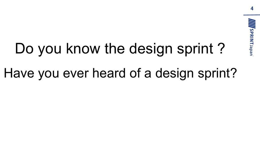 4 Do you know the design sprint ? Have you ever...