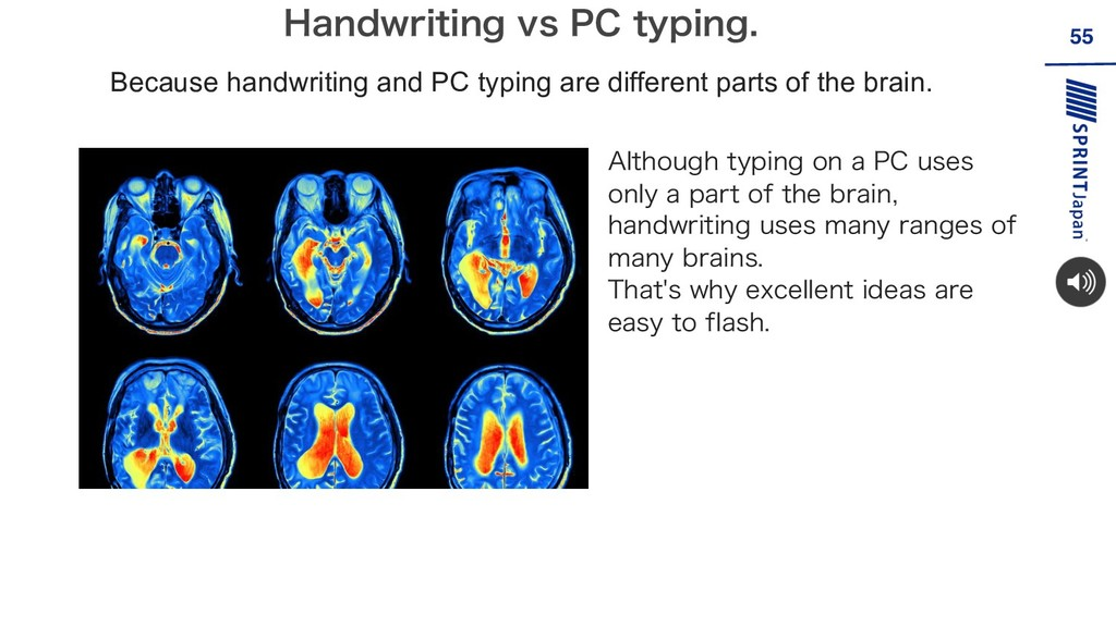 55 Because handwriting and PC typing are differ...