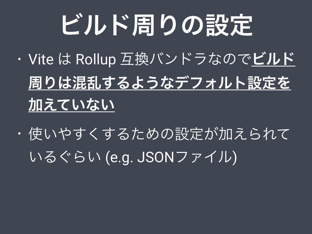 ϏϧυपΓͷઃఆ • Vite  Rollup ޓόϯυϥͳͷͰϏϧυ पΓࠞཚ͢ΔΑ͏...