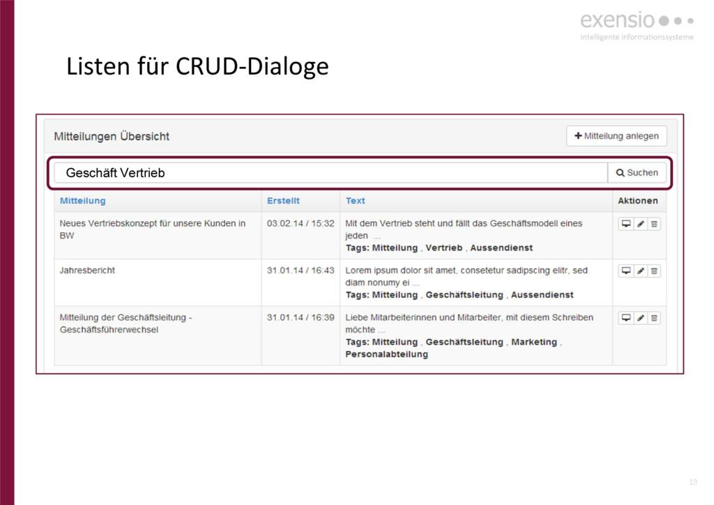 19 Listen für CRUD-Dialoge Geschäft Vertrieb
