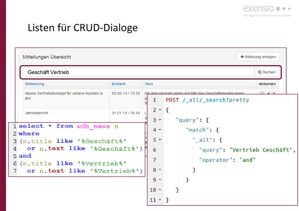 20 Listen für CRUD-Dialoge Geschäft Vertrieb