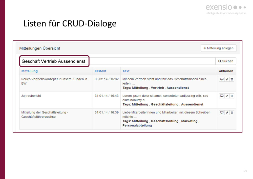 21 Listen für CRUD-Dialoge Geschäft Vertrieb Au...