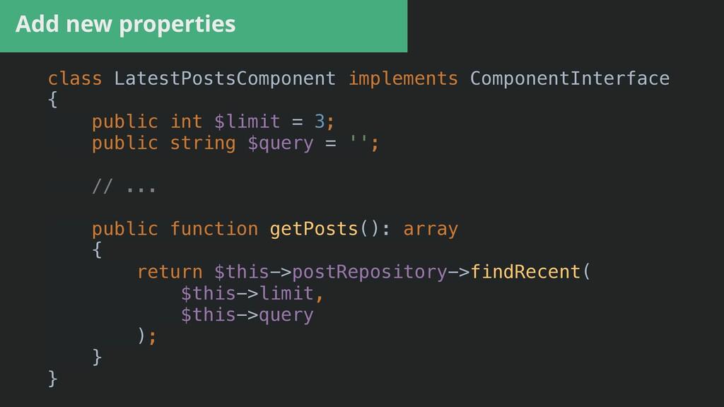 Add new properties class LatestPostsComponent i...