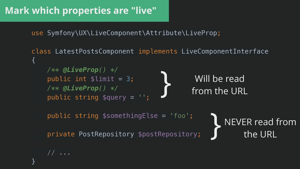 """Mark which properties are """"live"""" use Symfony\UX..."""