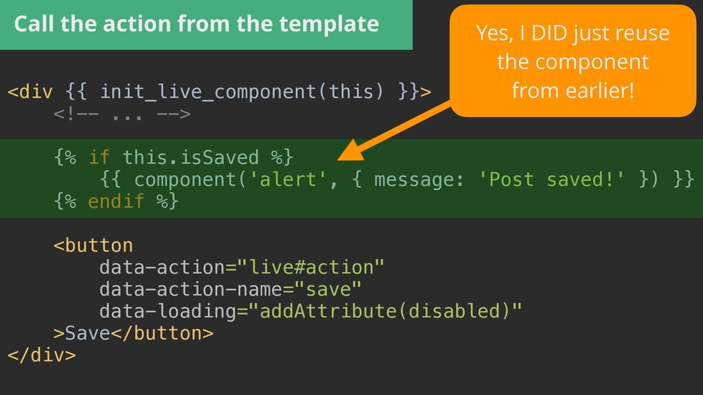 Call the action from the template <div {{ init_...