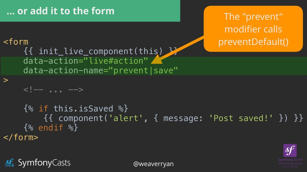 … or add it to the form <form   {{ init_live_co...
