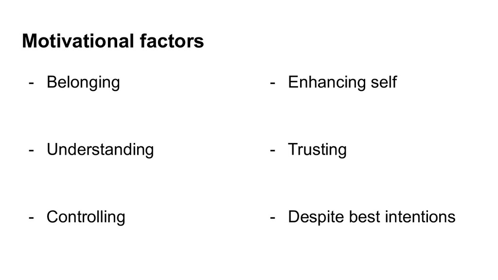Motivational factors - Belonging - Understandin...