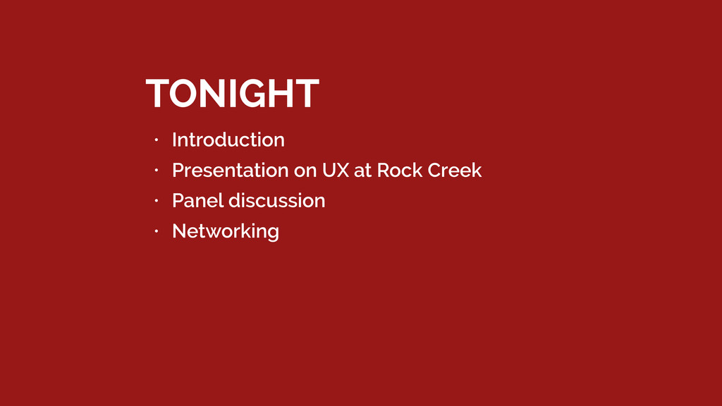 • Introduction • Presentation on UX at Rock Cre...