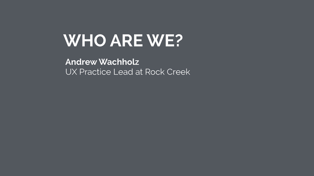 Andrew Wachholz UX Practice Lead at Rock Creek...