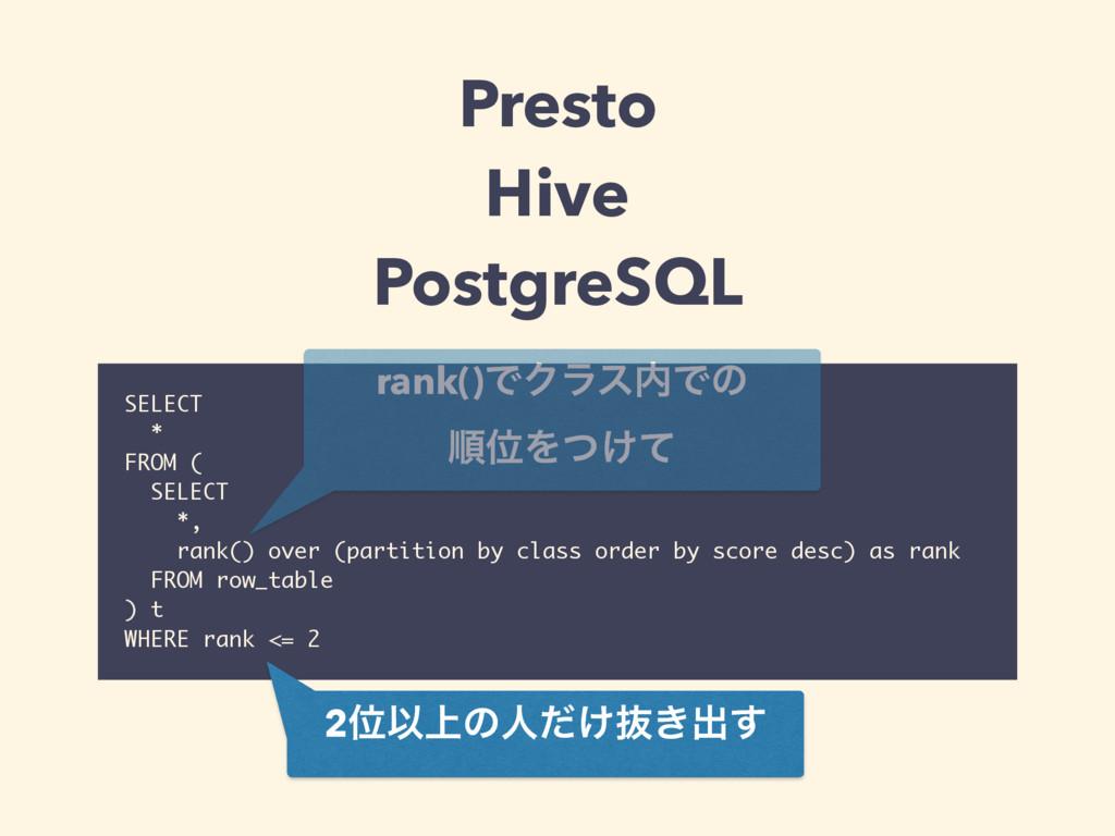 Presto Hive PostgreSQL SELECT * FROM ( SELECT ...