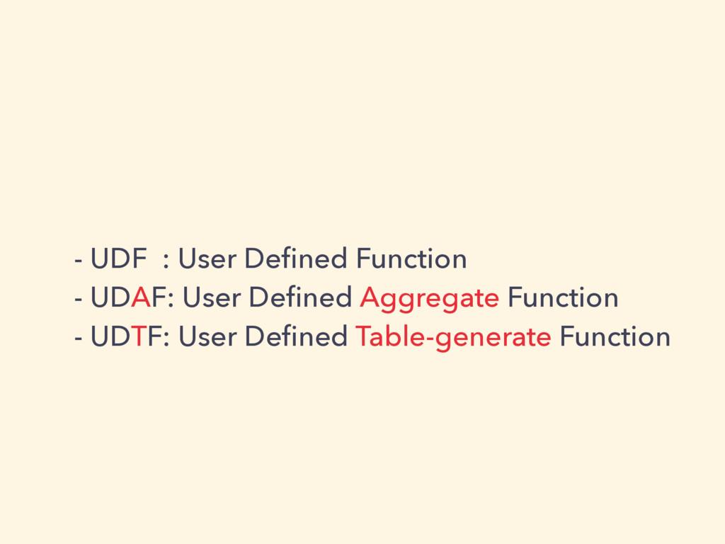 - UDF : User Defined Function - UDAF: User Define...