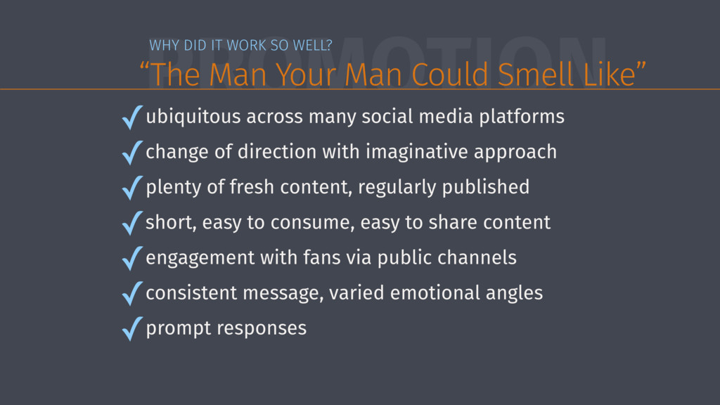 "PROMOTION WHY DID IT WORK SO WELL? ""The Man You..."