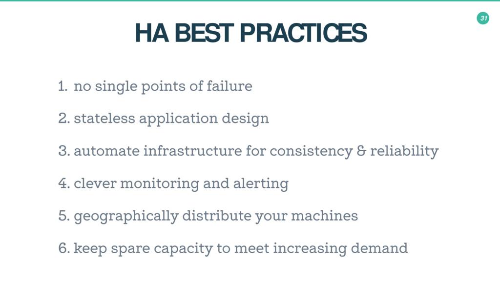 31 HA BEST PRACTICES 1. no single points of fai...