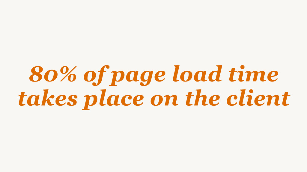 80% of page load time takes place on the client