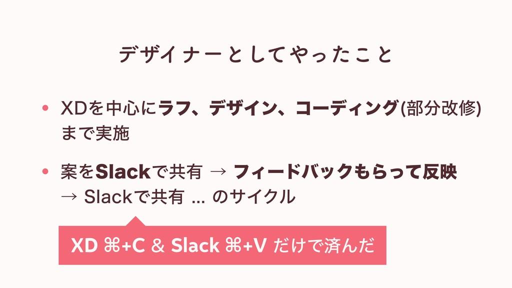 デザイナーとしてやったこと 案をSlackで共有 → フィードバックもらって反映 → Slac...