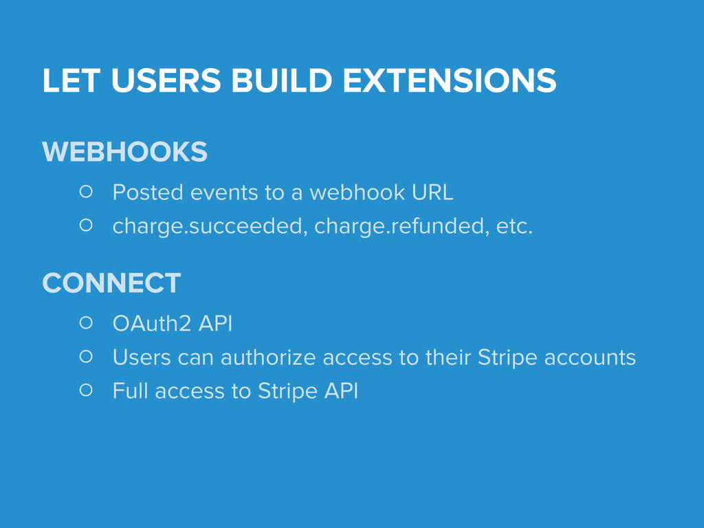 LET USERS BUILD EXTENSIONS WEBHOOKS ○ Posted ev...