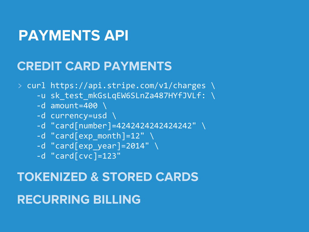 PAYMENTS API CREDIT CARD PAYMENTS TOKENIZED & S...