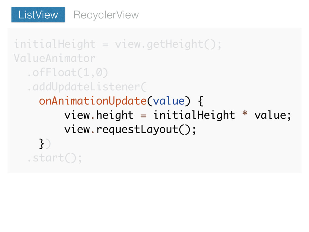 RecyclerView ListView initialHeight = view.getH...