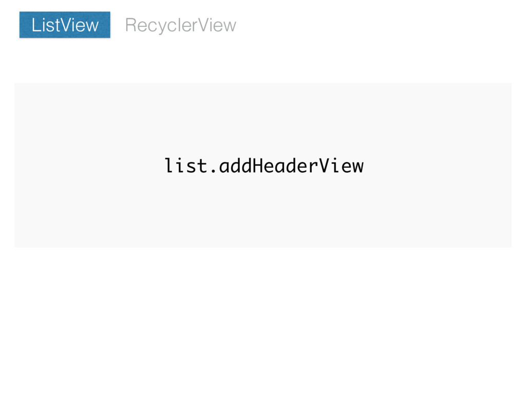 list.addHeaderView RecyclerView ListView