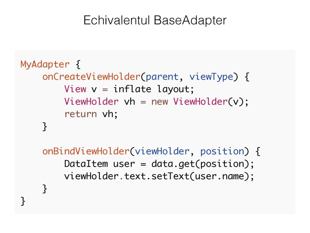 Echivalentul BaseAdapter MyAdapter { onCreateVi...