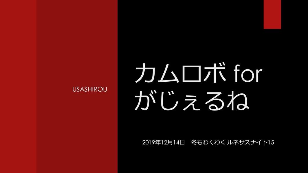 USASHIROU カムロボ for がじぇるね 2019年12月14日 冬もわくわく ルネサ...