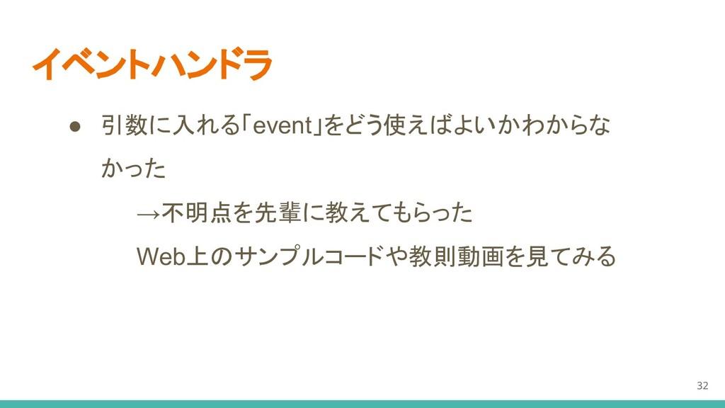 イベントハンドラ ● 引数に入れる「event」をどう使えばよいかわからな かった →不明点を...