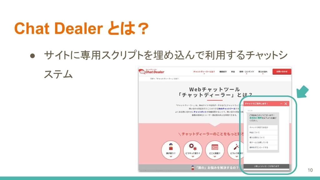 Chat Dealer とは? ● サイトに専用スクリプトを埋め込んで利用するチャットシ ステ...