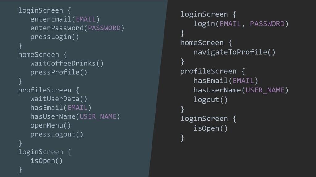 loginScreen { login(EMAIL, PASSWORD) } homeScre...